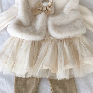 Baby bailarina dress with leggings and vest 3M